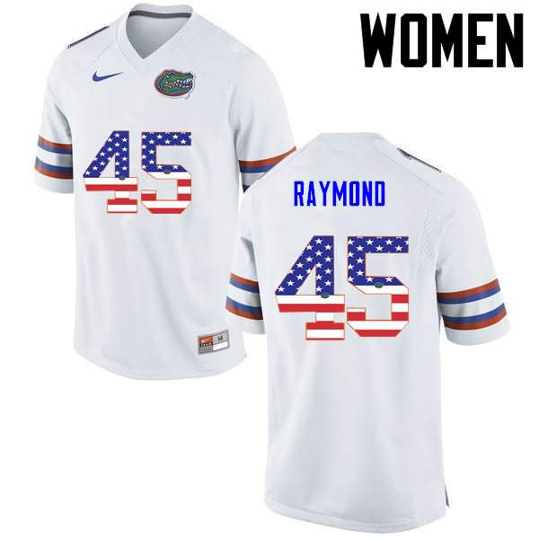 Women's Florida Gators #45 R.J. Raymond USA Flag Fashion Nike NCAA College Football Jersey SHS476RJ