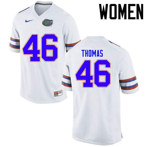Women's Florida Gators #46 Will Thomas White Nike NCAA College Football Jersey RYI045JJ