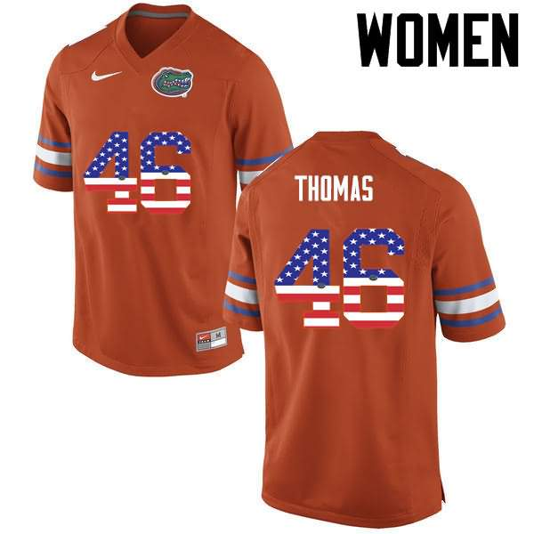 Women's Florida Gators #46 Will Thomas USA Flag Fashion Nike NCAA College Football Jersey WKD686VJ