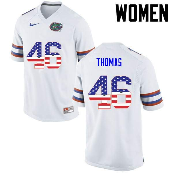 Women's Florida Gators #46 Will Thomas USA Flag Fashion Nike NCAA College Football Jersey YBI450EJ