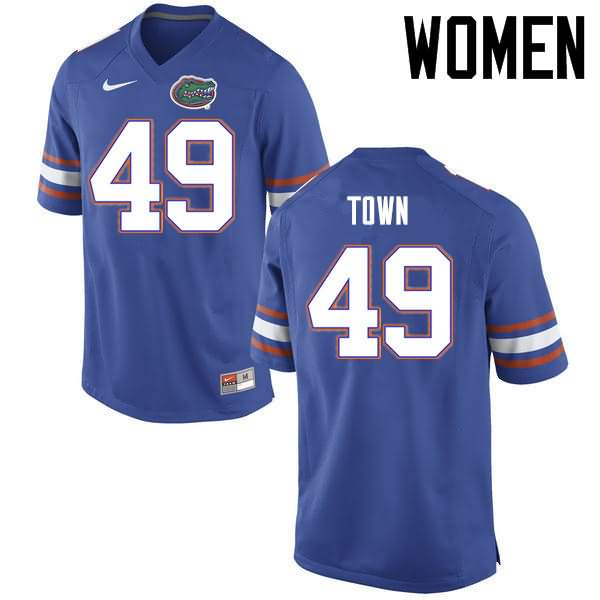 Women's Florida Gators #49 Cameron Town Blue Nike NCAA College Football Jersey ZWD826EJ