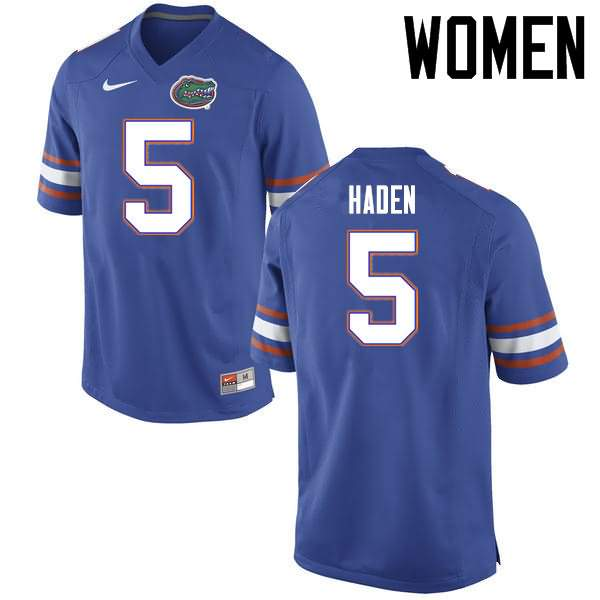 Women's Florida Gators #5 Joe Haden Blue Nike NCAA College Football Jersey YTJ461OJ