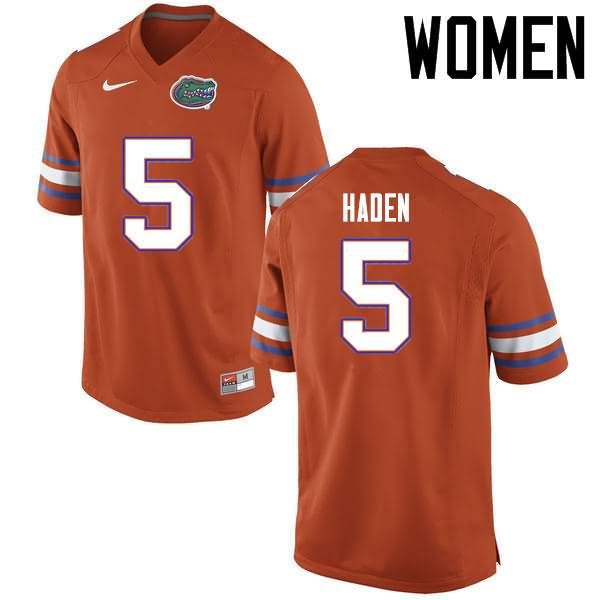 Women's Florida Gators #5 Joe Haden Orange Nike NCAA College Football Jersey YKA174FJ