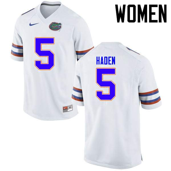 Women's Florida Gators #5 Joe Haden White Nike NCAA College Football Jersey ZGM332GJ