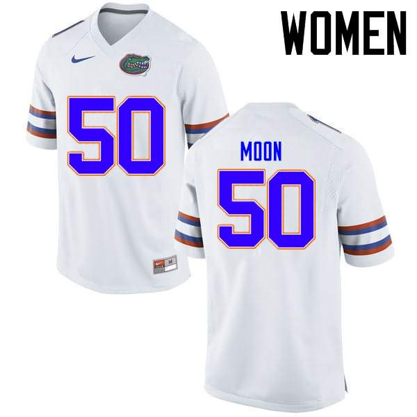 Women's Florida Gators #50 Jeremiah Moon White Nike NCAA College Football Jersey IXS768CJ