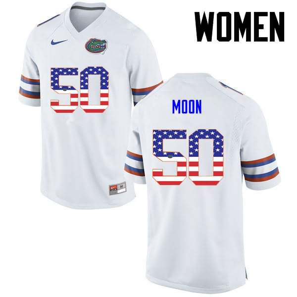Women's Florida Gators #50 Jeremiah Moon USA Flag Fashion Nike NCAA College Football Jersey ZPR416QJ