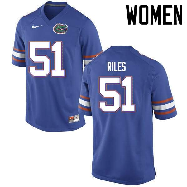 Women's Florida Gators #51 Antonio Riles Blue Nike NCAA College Football Jersey EZS511WJ