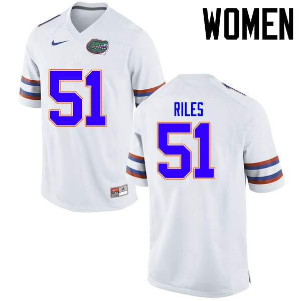 Women's Florida Gators #51 Antonio Riles White Nike NCAA College Football Jersey AOD038WJ