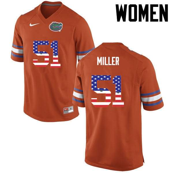 Women's Florida Gators #51 Ventrell Miller USA Flag Fashion Nike NCAA College Football Jersey NRS651AJ