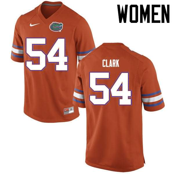 Women's Florida Gators #54 Khairi Clark Orange Nike NCAA College Football Jersey RJE883CJ