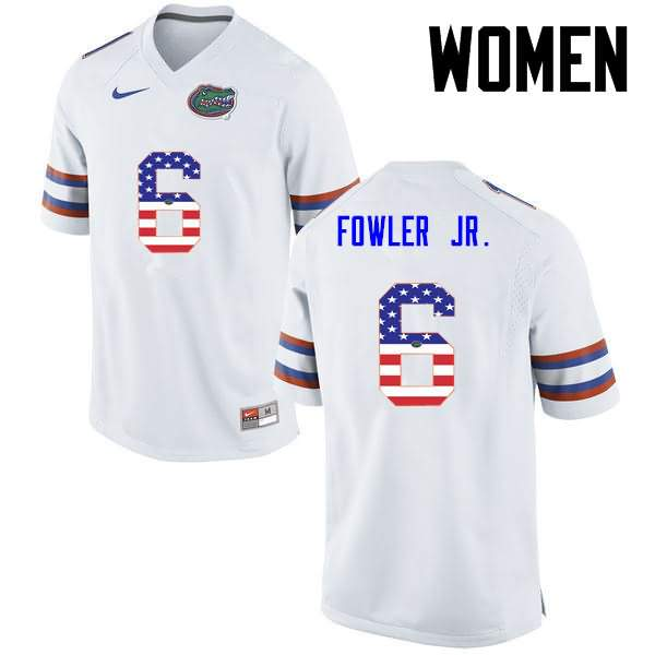Women's Florida Gators #6 Dante Fowler Jr. USA Flag Fashion Nike NCAA College Football Jersey MDU155LJ