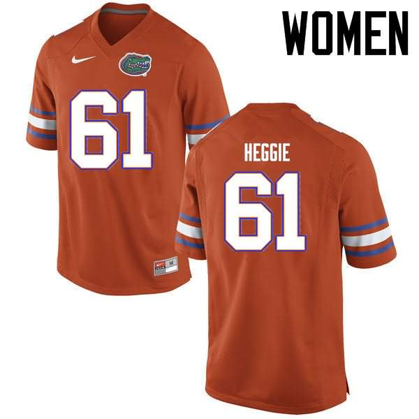 Women's Florida Gators #61 Brett Heggie Orange Nike NCAA College Football Jersey COB565ZJ