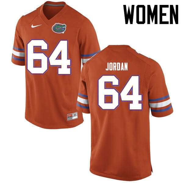 Women's Florida Gators #64 Tyler Jordan Orange Nike NCAA College Football Jersey TAD467UJ