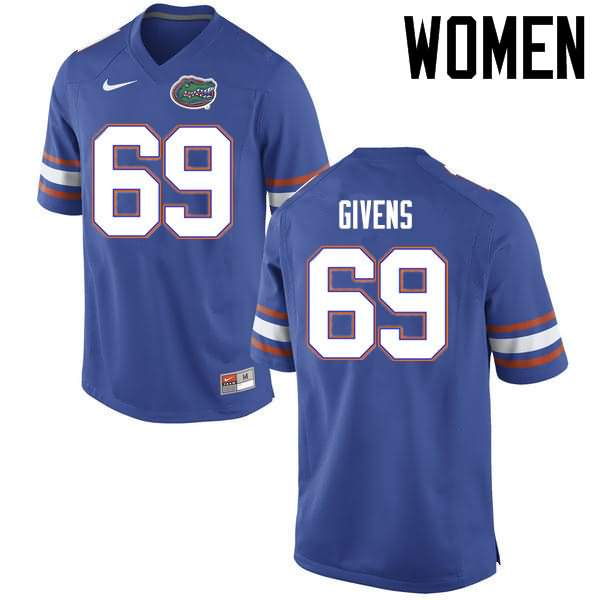 Women's Florida Gators #69 Marcus Givens Blue Nike NCAA College Football Jersey HIW866IJ