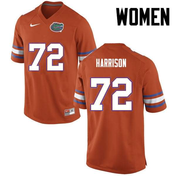 Women's Florida Gators #72 Jonotthan Harrison Orange Nike NCAA College Football Jersey OMU863ZJ