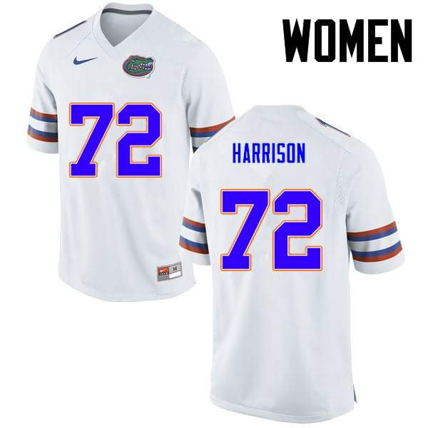 Women's Florida Gators #72 Jonotthan Harrison White Nike NCAA College Football Jersey VUW873EJ