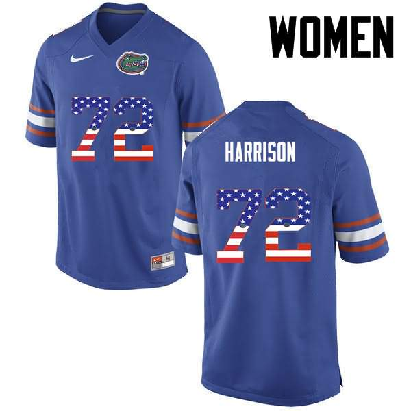 Women's Florida Gators #72 Jonotthan Harrison USA Flag Fashion Nike NCAA College Football Jersey PVE357IJ