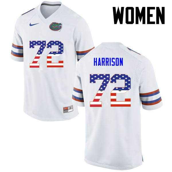Women's Florida Gators #72 Jonotthan Harrison USA Flag Fashion Nike NCAA College Football Jersey DTA178LJ