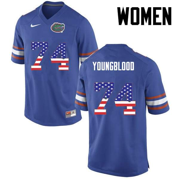 Women's Florida Gators #74 Jack Youngblood USA Flag Fashion Nike NCAA College Football Jersey YGS577EJ