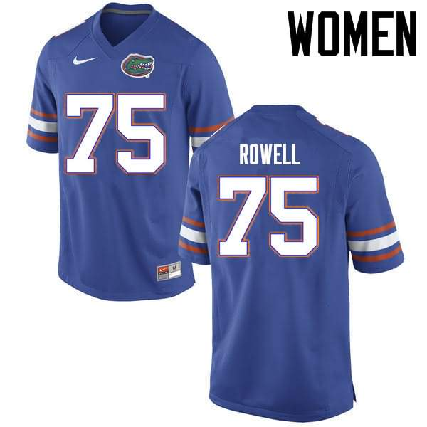 Women's Florida Gators #75 Tanner Rowell Blue Nike NCAA College Football Jersey IDG133PJ