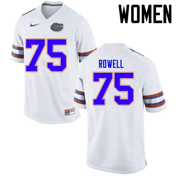 Women's Florida Gators #75 Tanner Rowell White Nike NCAA College Football Jersey DCP831ZJ