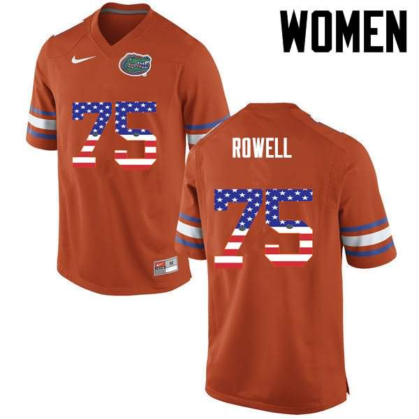 Women's Florida Gators #75 Tanner Rowell USA Flag Fashion Nike NCAA College Football Jersey OJZ062IJ