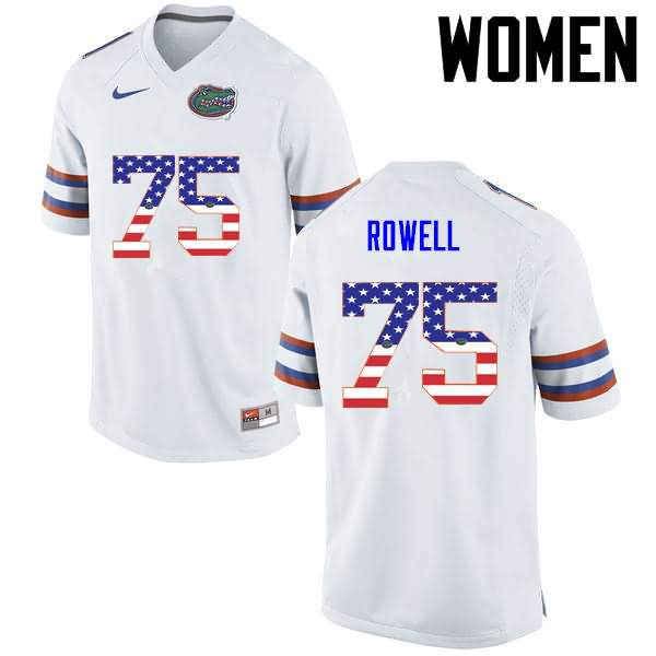 Women's Florida Gators #75 Tanner Rowell USA Flag Fashion Nike NCAA College Football Jersey RCM715TJ