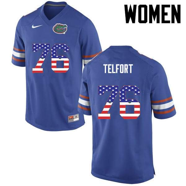 Women's Florida Gators #76 Kadeem Telfort USA Flag Fashion Nike NCAA College Football Jersey TEW002EJ