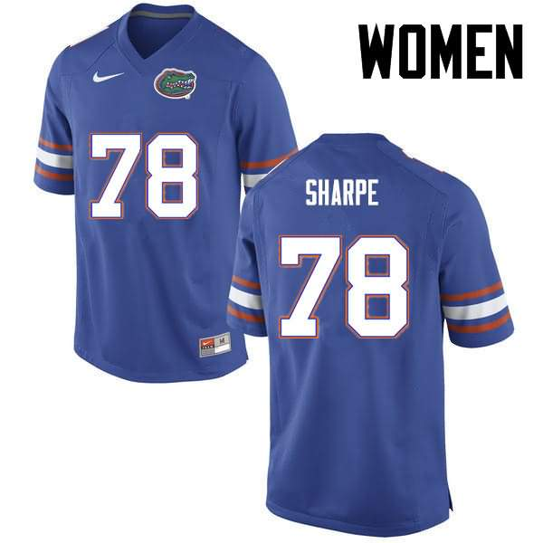Women's Florida Gators #78 David Sharpe Blue Nike NCAA College Football Jersey OKT442RJ