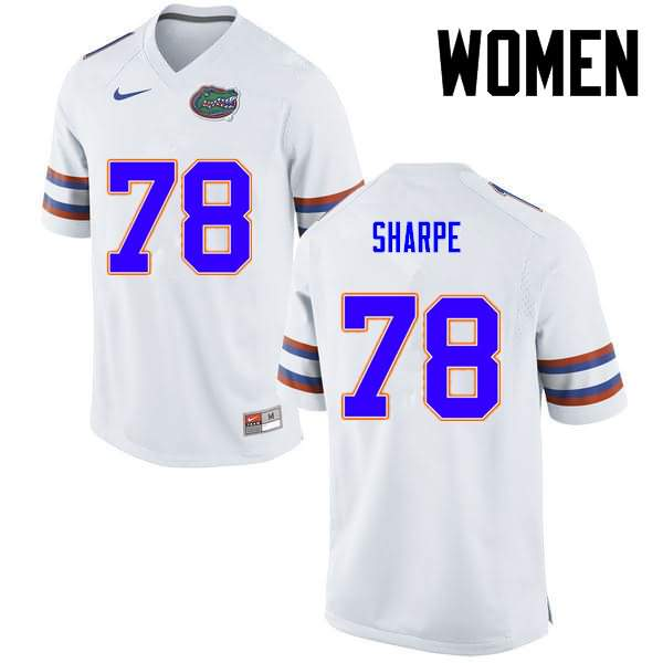 Women's Florida Gators #78 David Sharpe White Nike NCAA College Football Jersey NZX463WJ