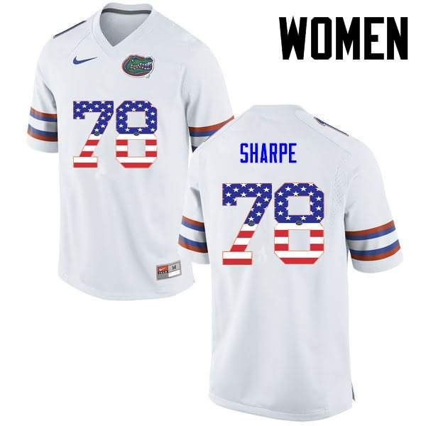 Women's Florida Gators #78 David Sharpe USA Flag Fashion Nike NCAA College Football Jersey TZM761MJ