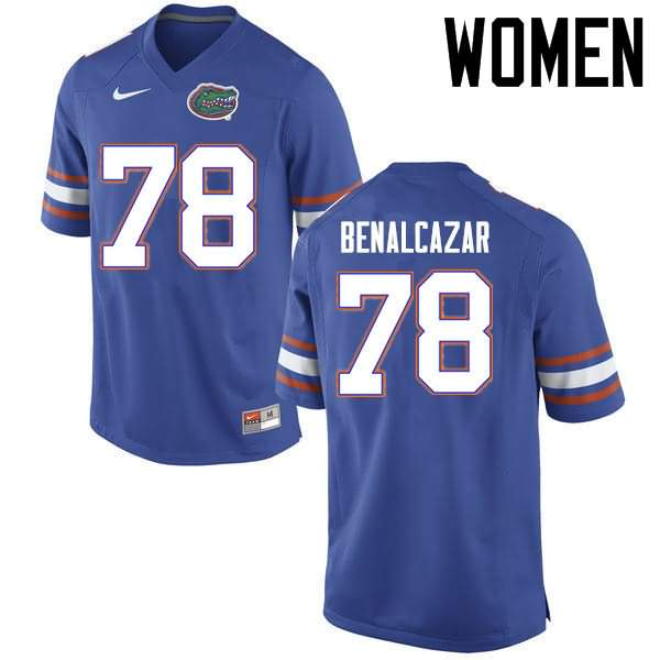 Women's Florida Gators #78 Ricardo Benalcazar Blue Nike NCAA College Football Jersey TSO056XJ
