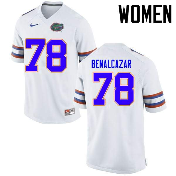 Women's Florida Gators #78 Ricardo Benalcazar White Nike NCAA College Football Jersey SKW268XJ