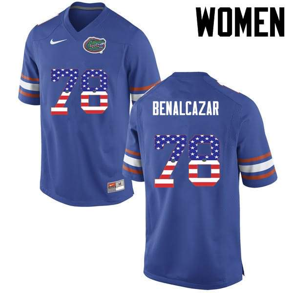 Women's Florida Gators #78 Ricardo Benalcazar USA Flag Fashion Nike NCAA College Football Jersey LIP625AJ