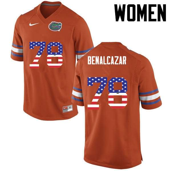 Women's Florida Gators #78 Ricardo Benalcazar USA Flag Fashion Nike NCAA College Football Jersey OKQ850QJ