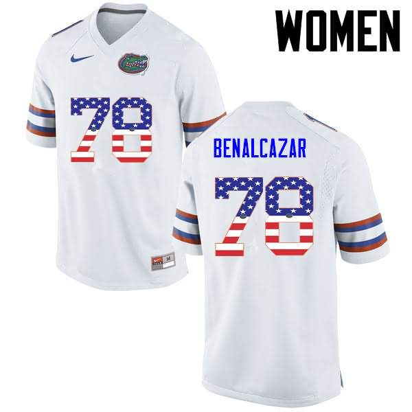Women's Florida Gators #78 Ricardo Benalcazar USA Flag Fashion Nike NCAA College Football Jersey YXV705BJ
