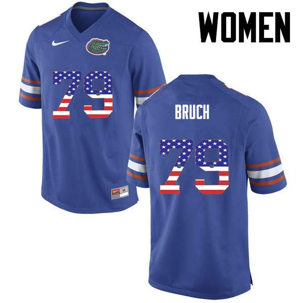 Women's Florida Gators #79 Dallas Bruch USA Flag Fashion Nike NCAA College Football Jersey WDX363OJ