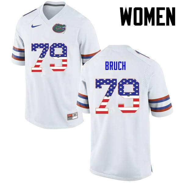 Women's Florida Gators #79 Dallas Bruch USA Flag Fashion Nike NCAA College Football Jersey QVJ477YJ