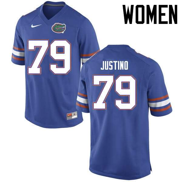 Women's Florida Gators #79 Daniel Justino Blue Nike NCAA College Football Jersey FKU870NJ