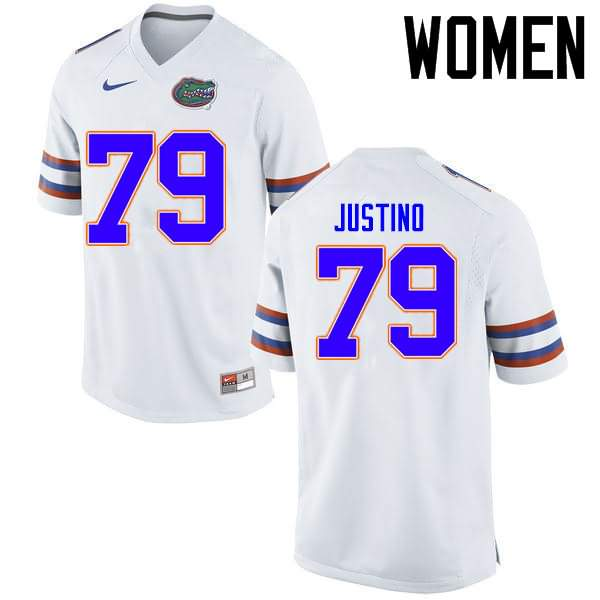 Women's Florida Gators #79 Daniel Justino White Nike NCAA College Football Jersey HLB466BJ