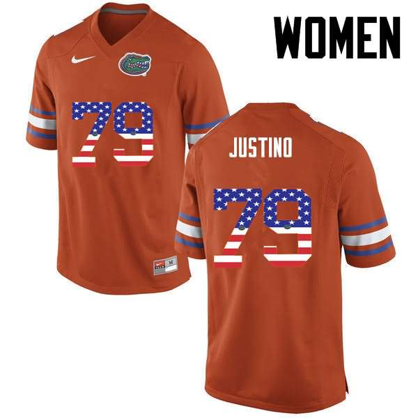Women's Florida Gators #79 Daniel Justino USA Flag Fashion Nike NCAA College Football Jersey EEZ665PJ