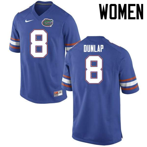 Women's Florida Gators #8 Carlos Dunlap Blue Nike NCAA College Football Jersey INP714CJ
