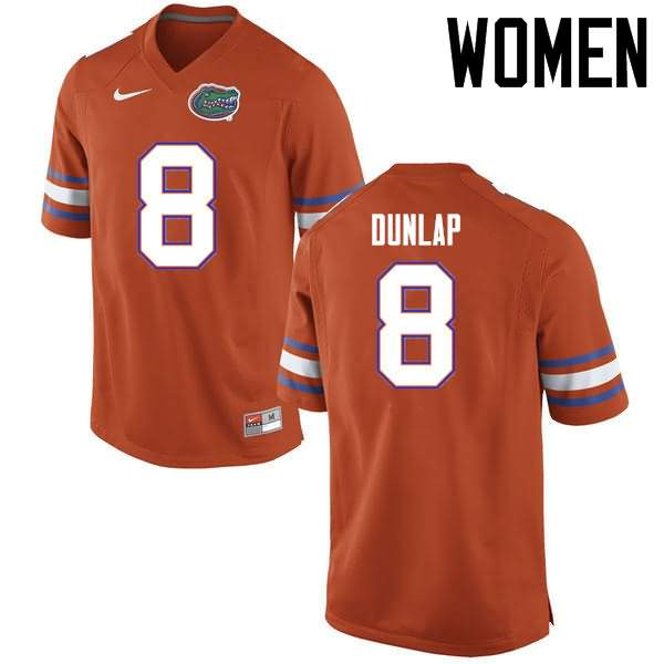 Women's Florida Gators #8 Carlos Dunlap Orange Nike NCAA College Football Jersey WOC800RJ