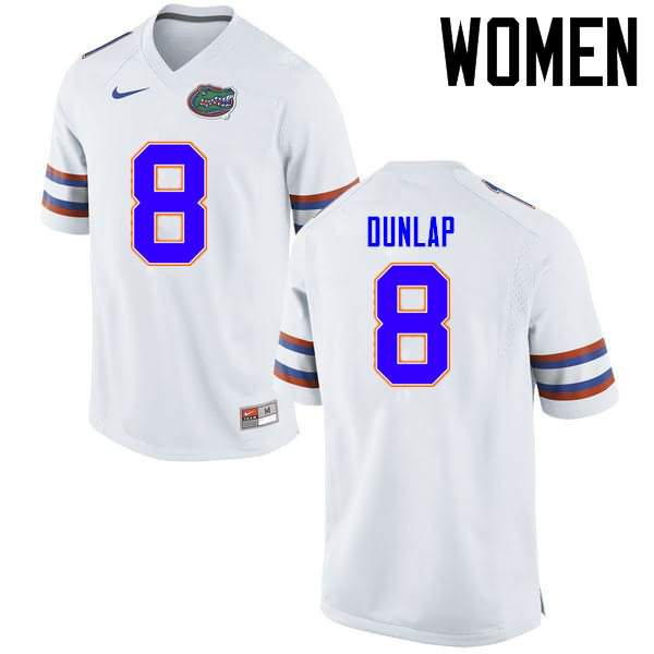 Women's Florida Gators #8 Carlos Dunlap White Nike NCAA College Football Jersey RDN304ZJ