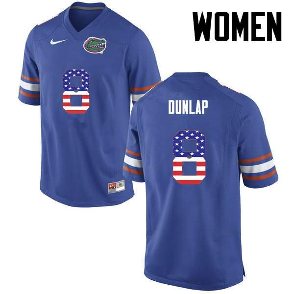 Women's Florida Gators #8 Carlos Dunlap USA Flag Fashion Nike NCAA College Football Jersey RXC631RJ