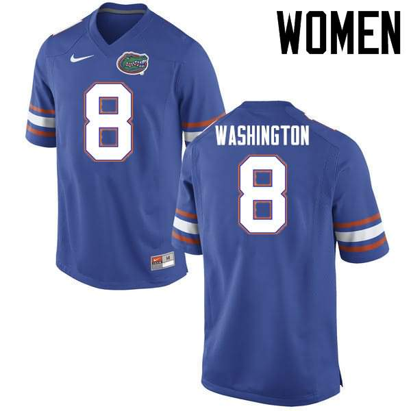 Women's Florida Gators #8 Nick Washington Blue Nike NCAA College Football Jersey QZJ407IJ