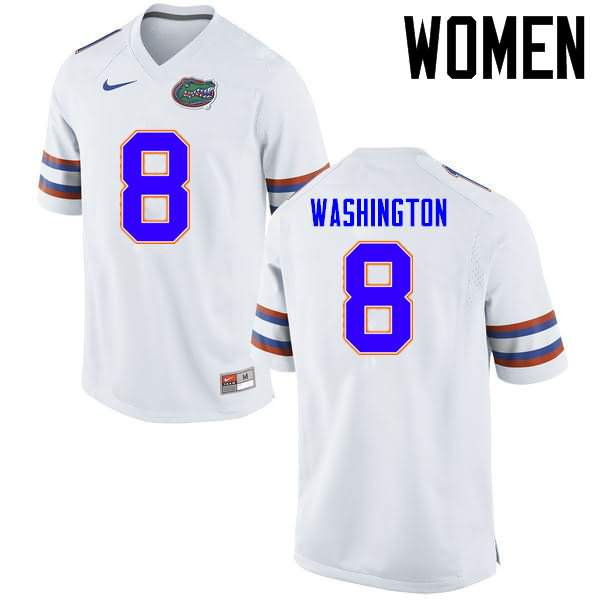 Women's Florida Gators #8 Nick Washington White Nike NCAA College Football Jersey MLJ340LJ