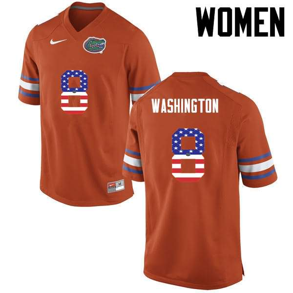 Women's Florida Gators #8 Nick Washington USA Flag Fashion Nike NCAA College Football Jersey ETA830ZJ