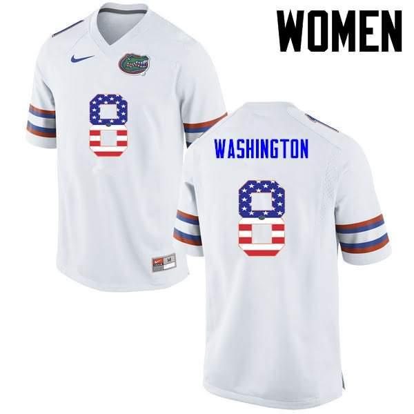 Women's Florida Gators #8 Nick Washington USA Flag Fashion Nike NCAA College Football Jersey NMT665XJ