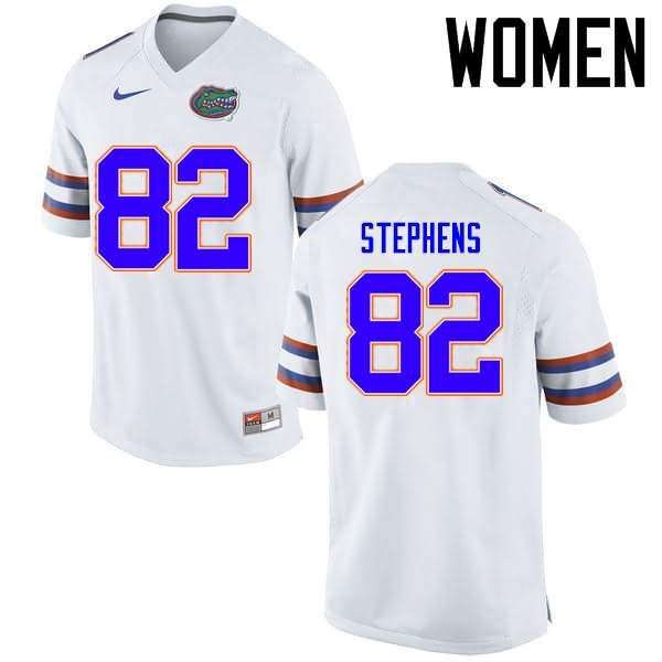 Women's Florida Gators #82 Moral Stephens White Nike NCAA College Football Jersey WAS786YJ